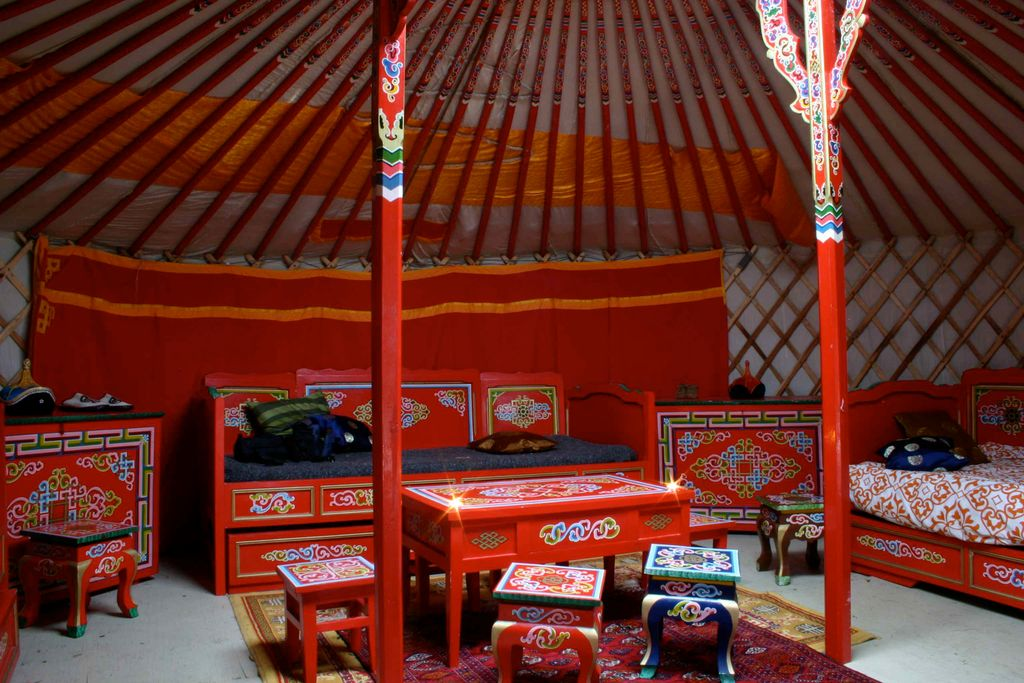 interior of authentic mongolian yurt for outdoor bachelor party ideas in 2020