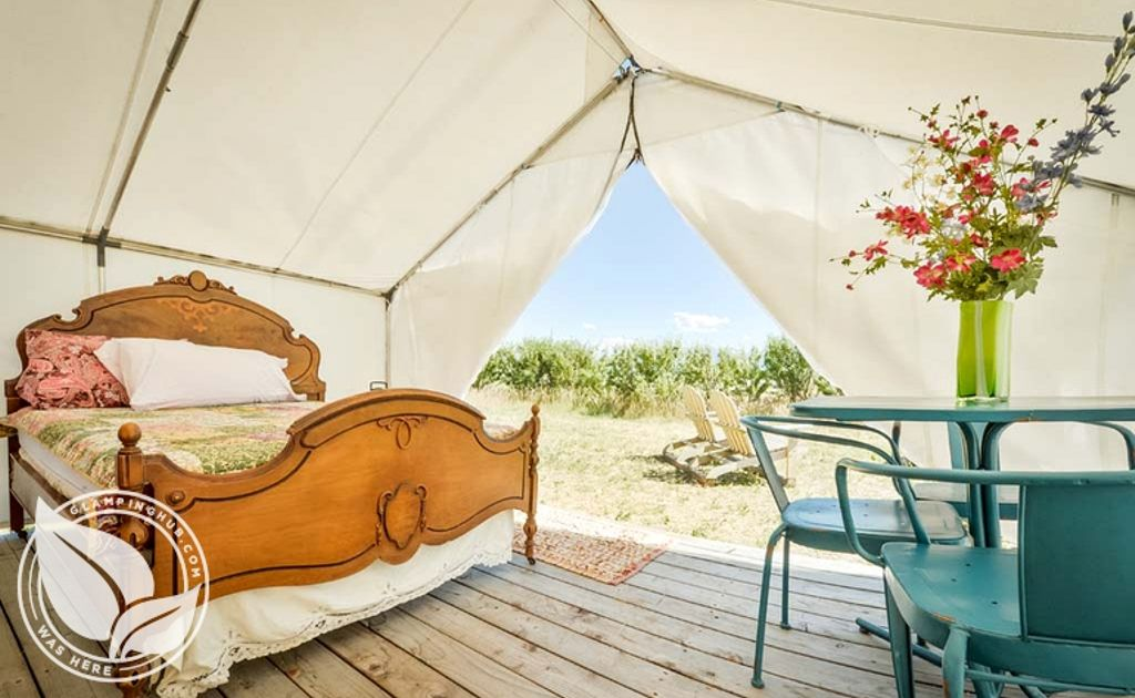 luxury tent with a double bed and dining furniture