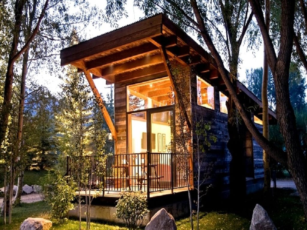 gifts for backpackers, these cabins near grand teton national park shown at night