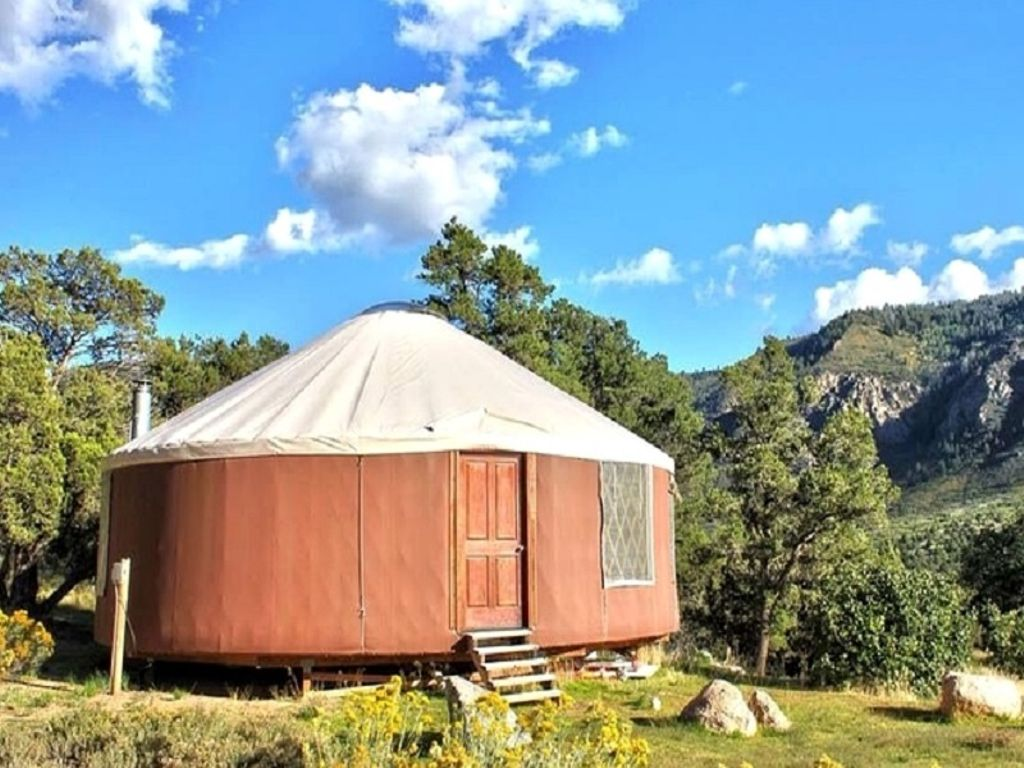 shot of Colorado yurt and one of presents for nature lovers and people who love to travel