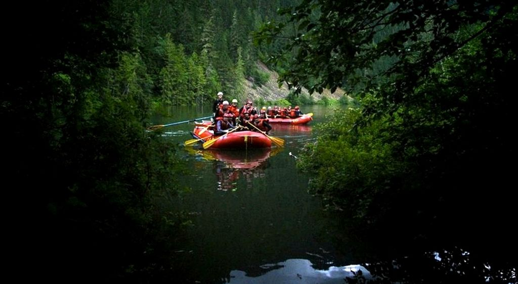 People on a river raft in British Columbia on a college spring break.