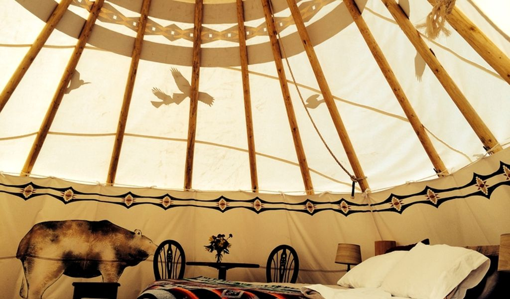interior of teepee camping NC and perfect for the best holiday destinations USA has to offer