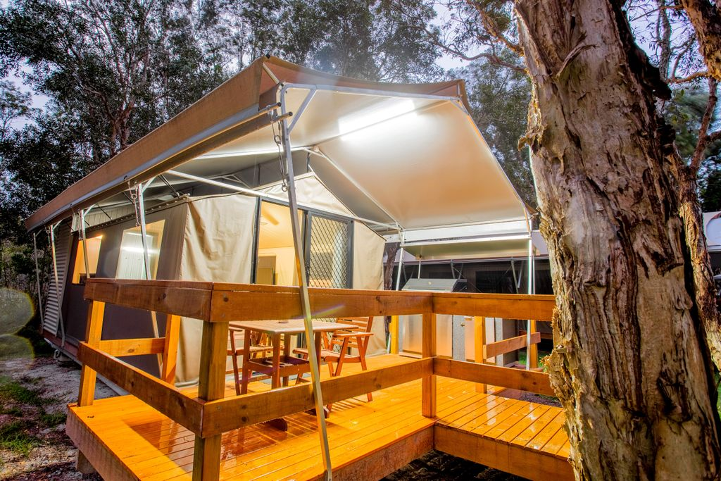 luxury tented cabin perfect for Christmas holidays in Byron Bay