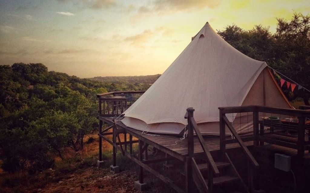 unique gift for boyfriend: a secluded bell tent near San Antonio, Texas
