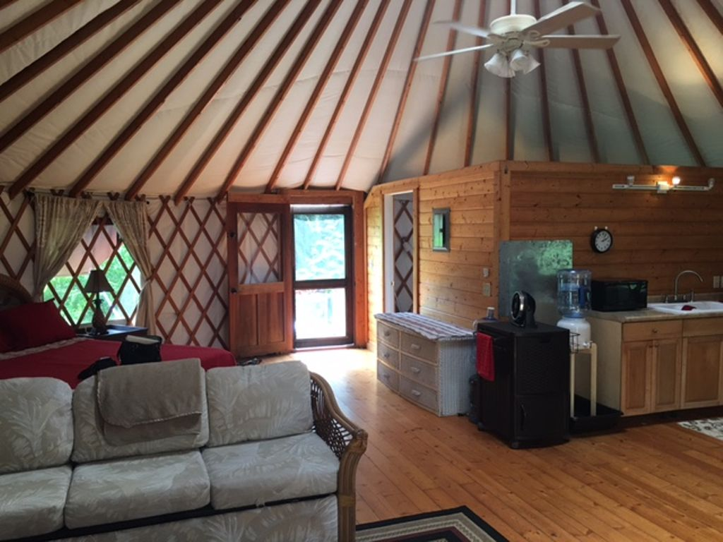 The interior of the yurt in Hawaii