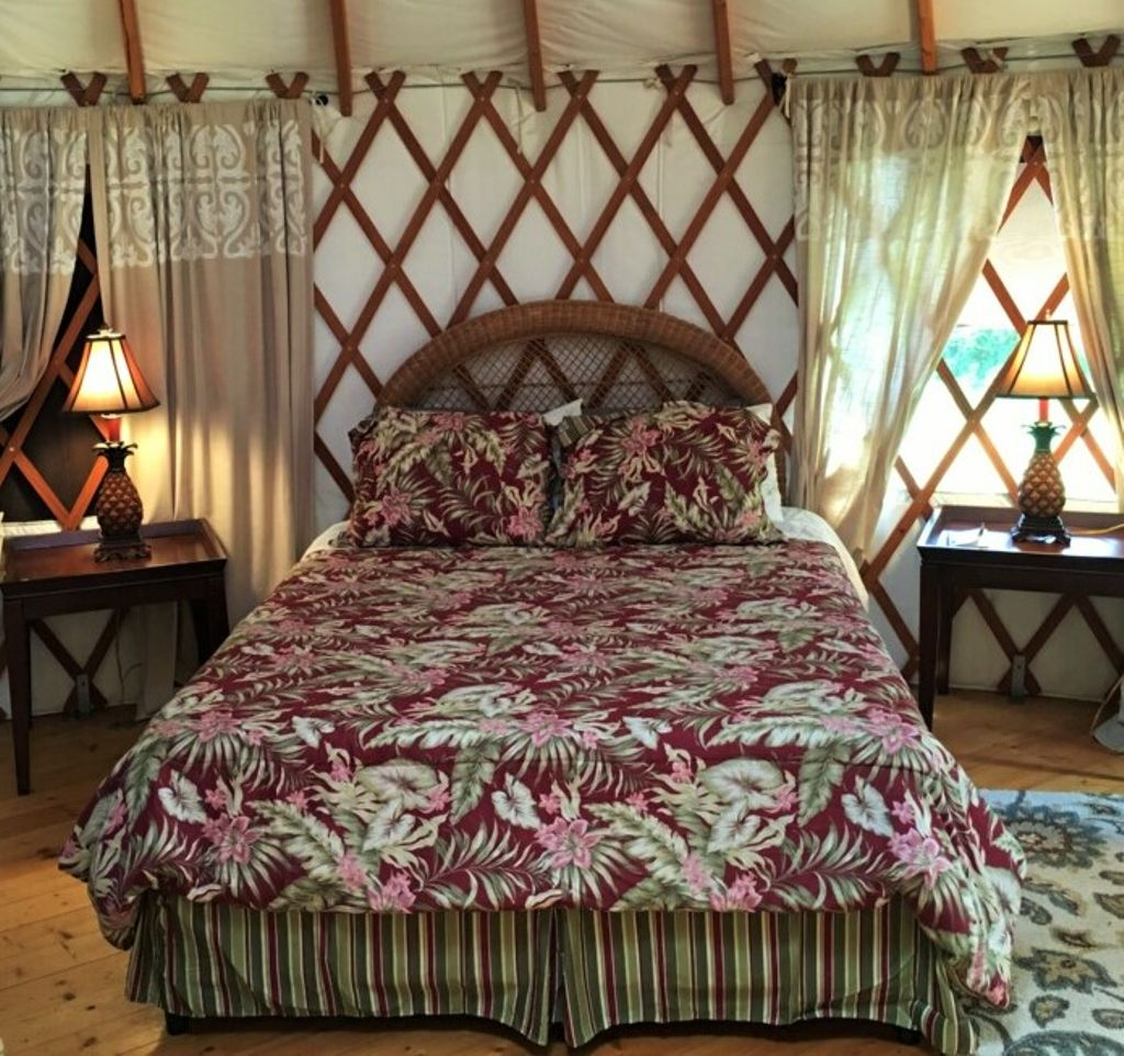 The bed inside the yurt in Hawaii