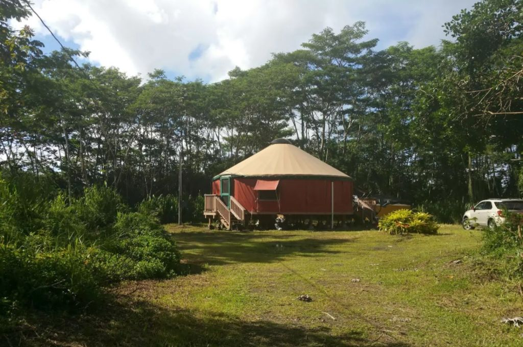 The exterior of the yurt in Hawaii