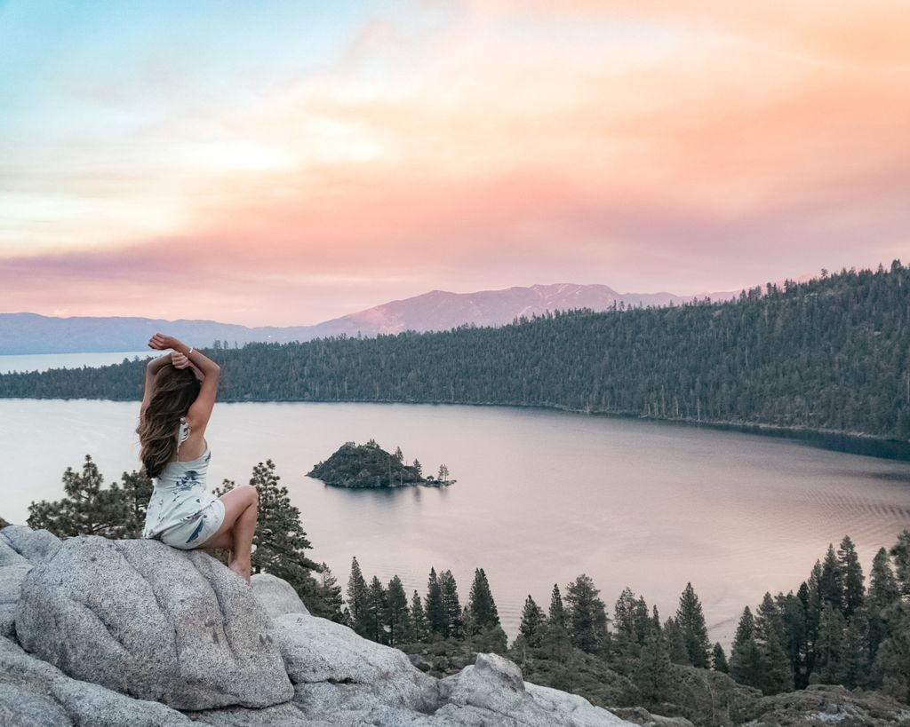 The blogger admiring the sunset over Lake Tahoe, California.