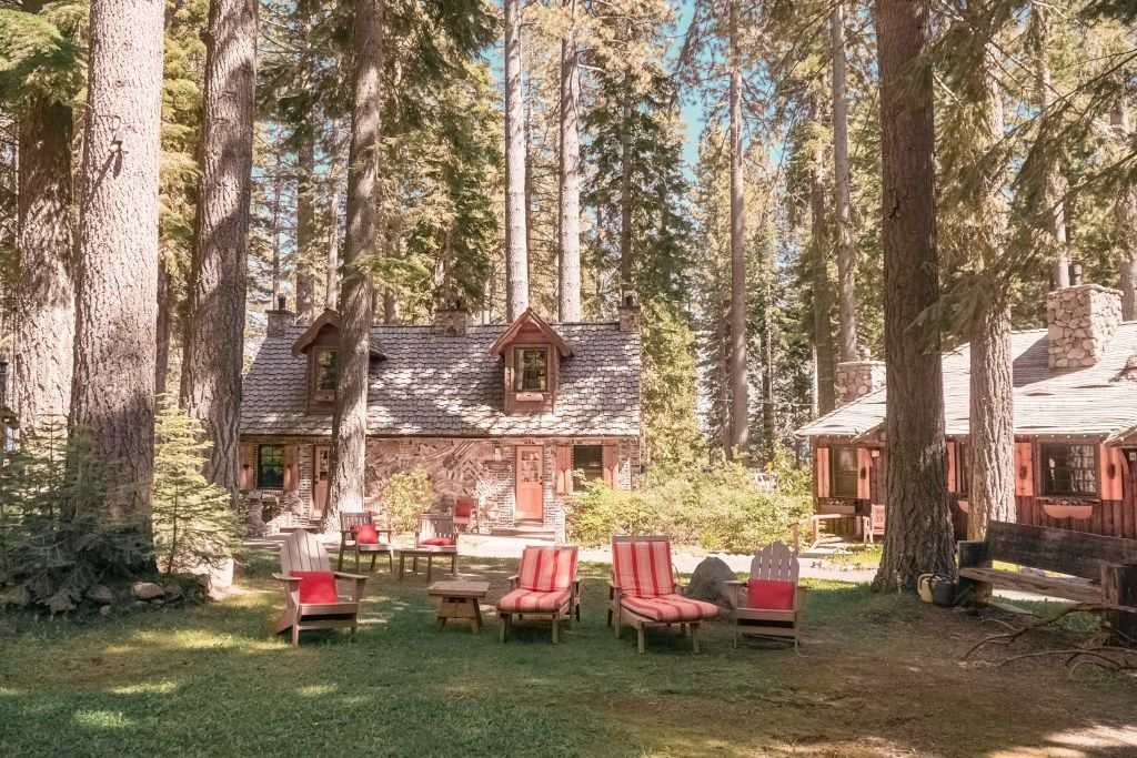 The cottages tucked away among the large trees that surround Lake Tahoe, California.