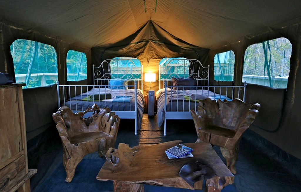 The inside scope of the luxury tent rental.