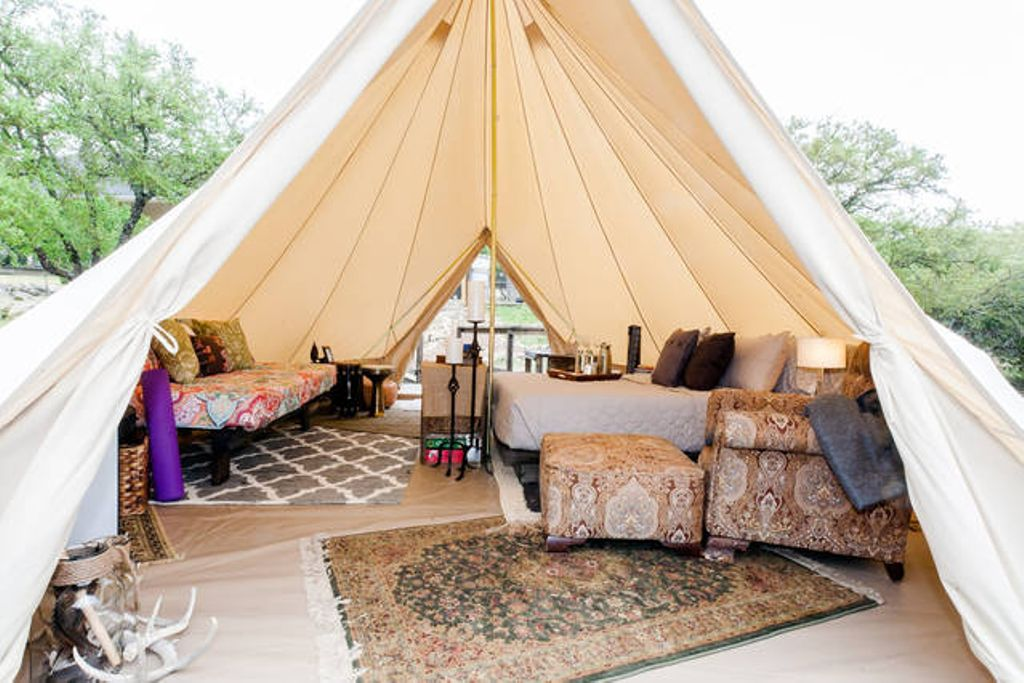 The interior of this unique and vintage bell tent.