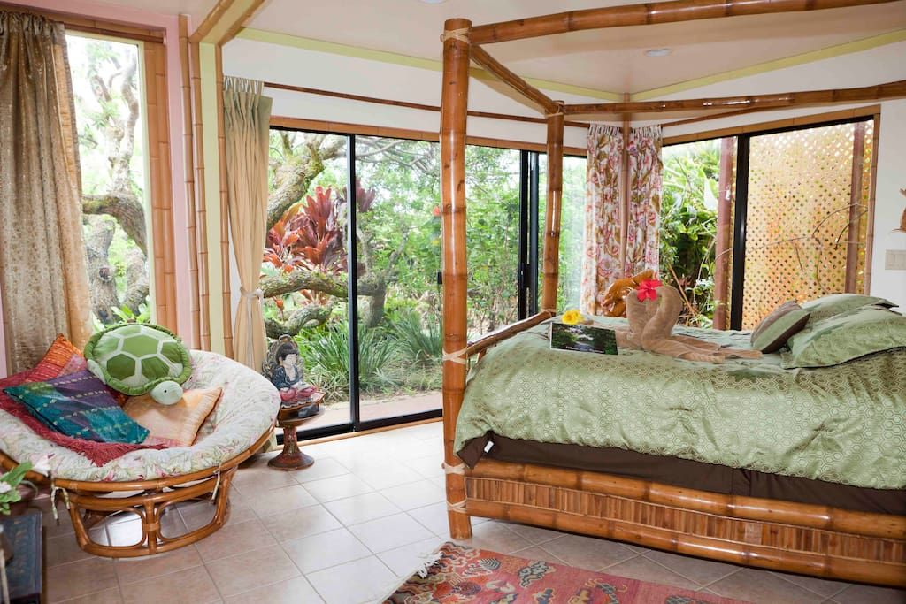 A relaxing suite with calming nature views at this eco-retreat in Maui.