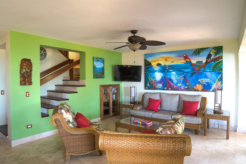 Modern and beachy living room of villa rental in Costa Rica