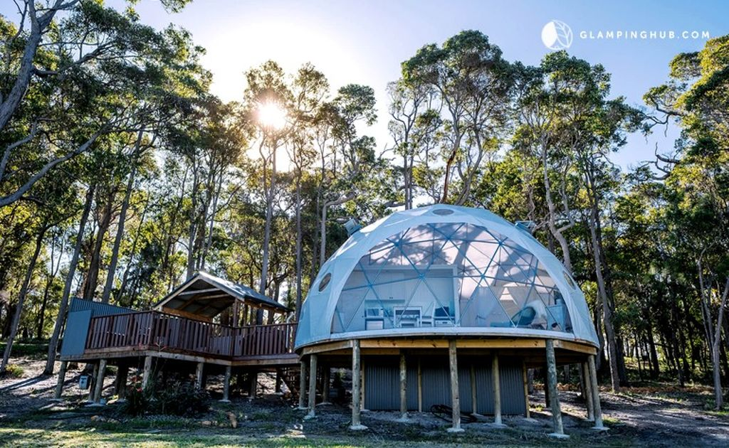 A view from the outside of the dome in New South Wales. Glamping is made easy here