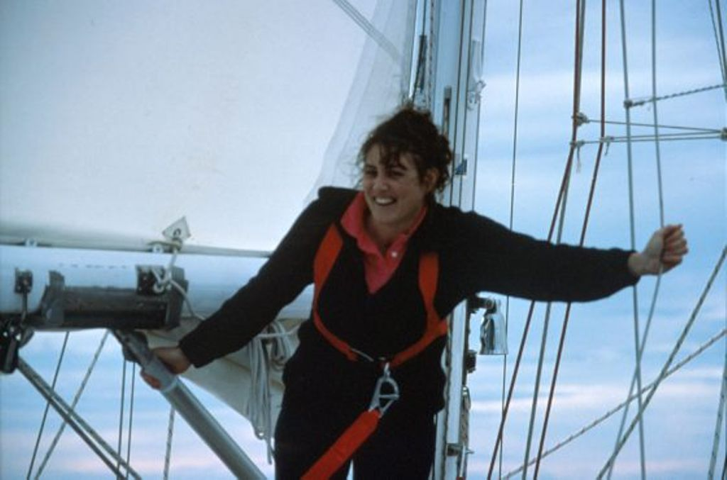 This is a photo of Kay Cottee sailing.