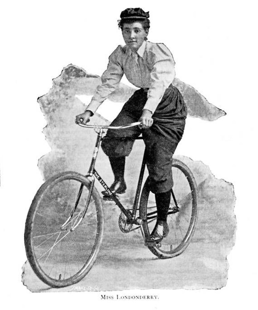 This is a photo of Annie Londonderry on her bike.