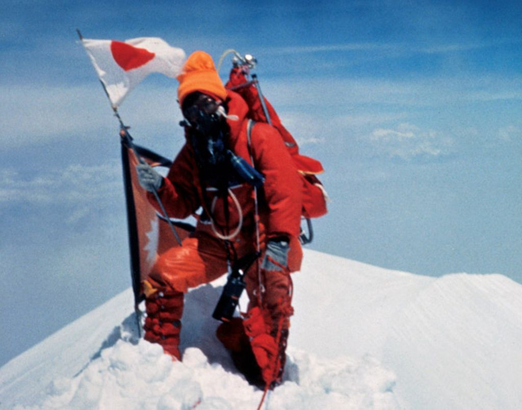 This is a photo of Junko Tabei at the summit of Mount Everest.