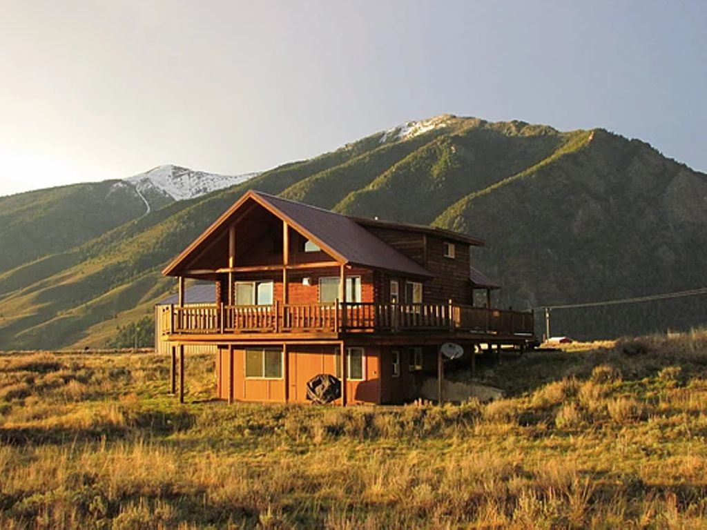 A view from the exterior of the log cabin near Yellowstone in Montana.