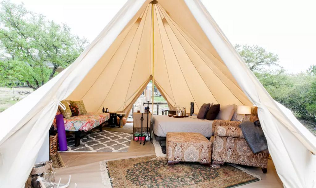 stay in this TX yurt for family vacations in Texas on a budget