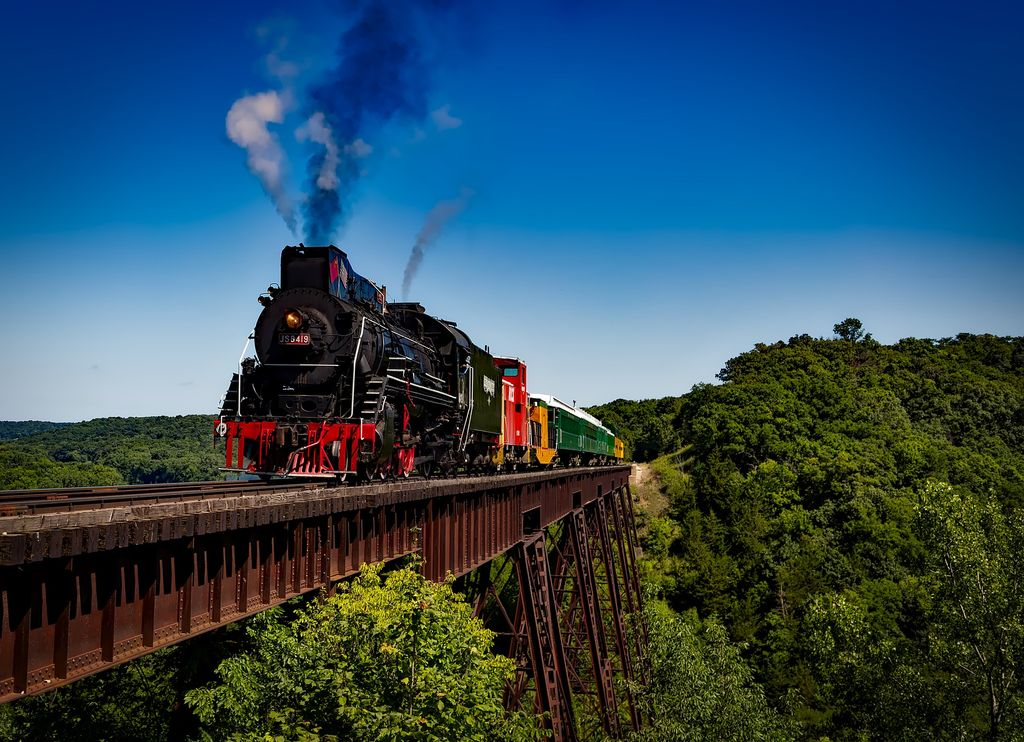 A train running by the top Mexico vacation spots and beautiful places to visit in Mexico.