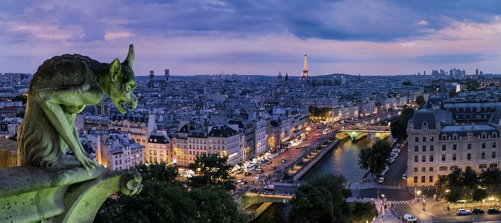 city of Paris, France visible during Halloween