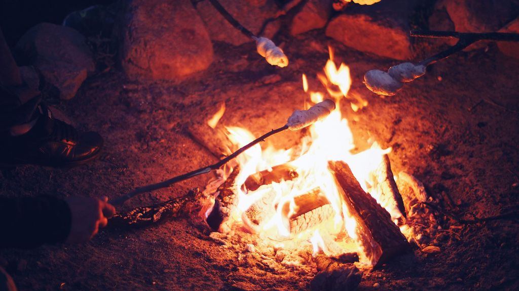 eating smores around a campfire, some of the best food for camping