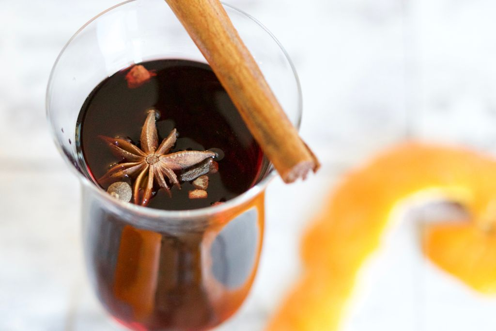 Glögg served warm and ready to drink as one of the classic holiday drinks in Sweden