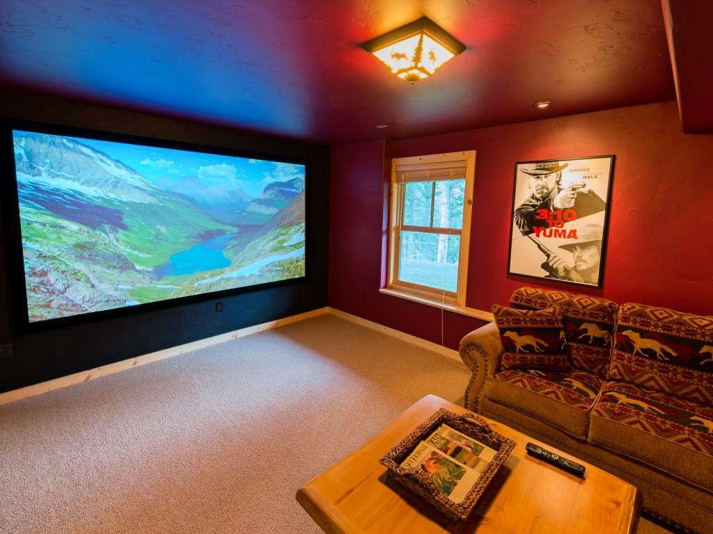 A private movie theater in a winter camping vacation rental.