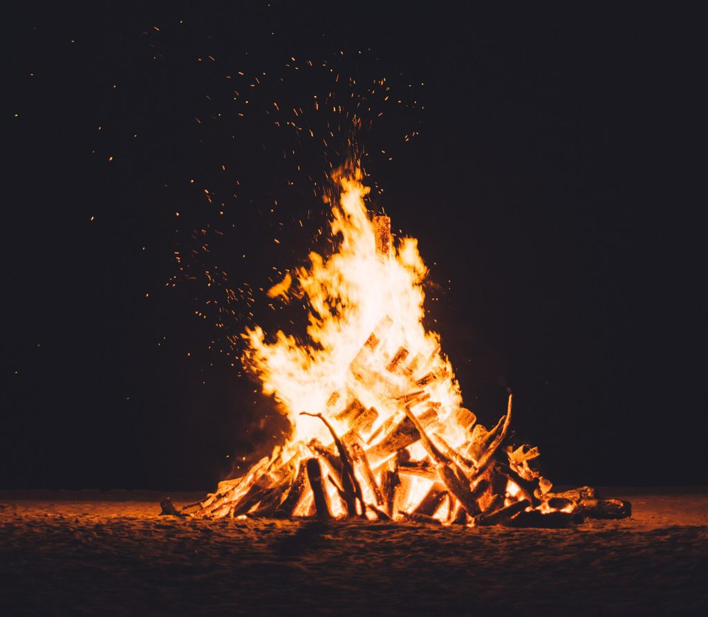 bonfire lit as part of the Holi traditions during the Indian celebrations