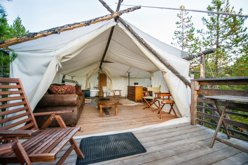 Interior of tented cabins in Montana for camping near Glacier National Park