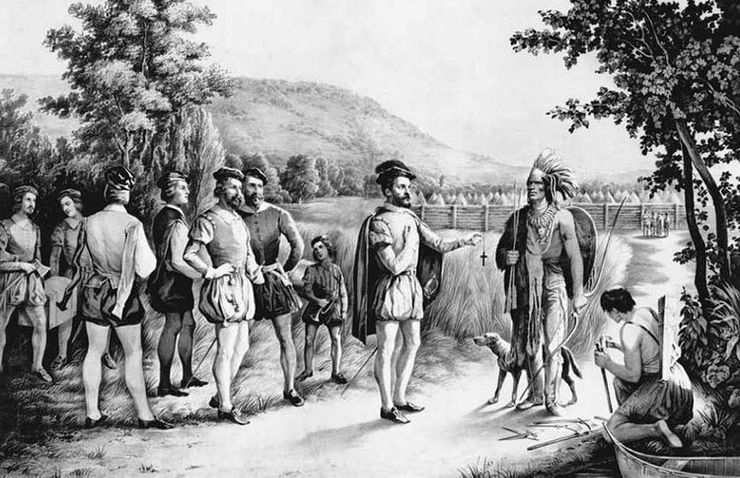 old painting of French traders in Canada