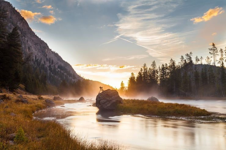 image of yellowstone national park glamping trip featuring one of the best places for road trip ideas