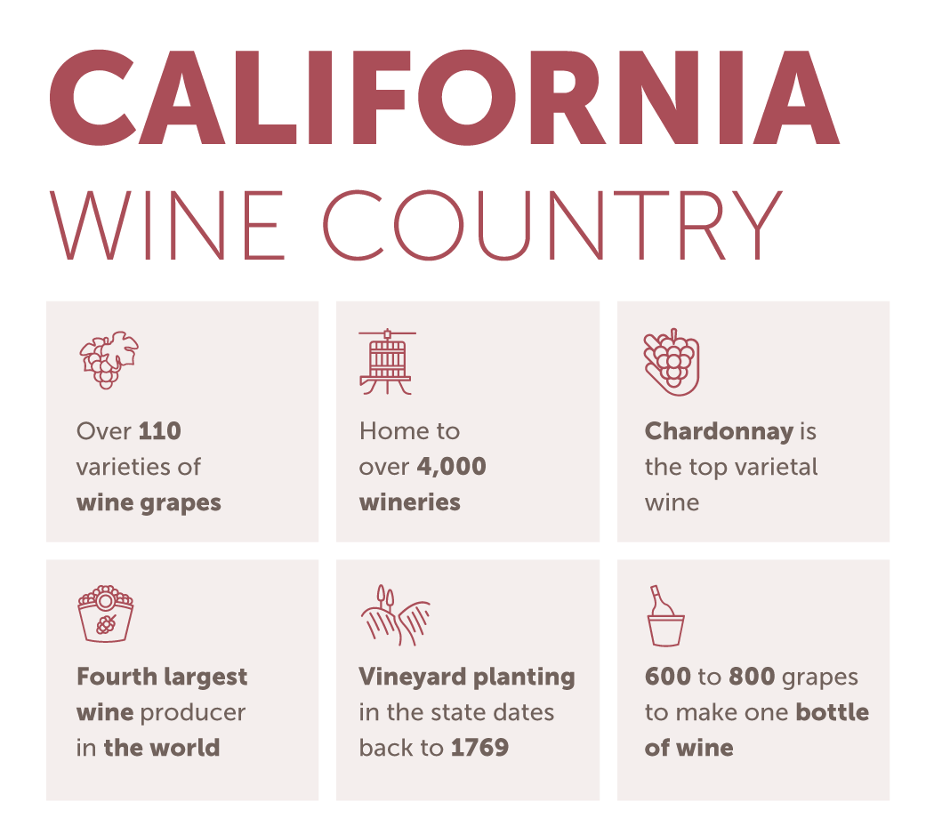 graphic with California Wine Country facts and figures