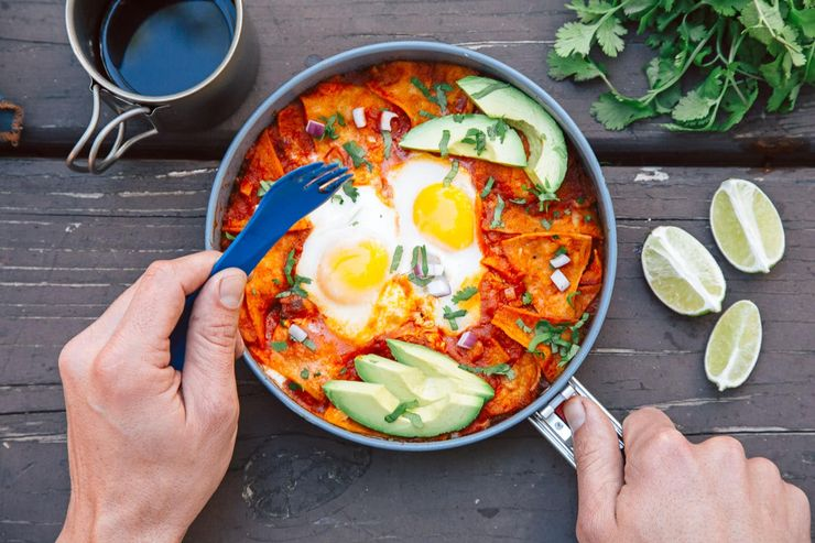 image of chilaquiles for delicious breakfasts and camping food hacks